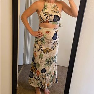 Floral two piece set skirt and halter top
